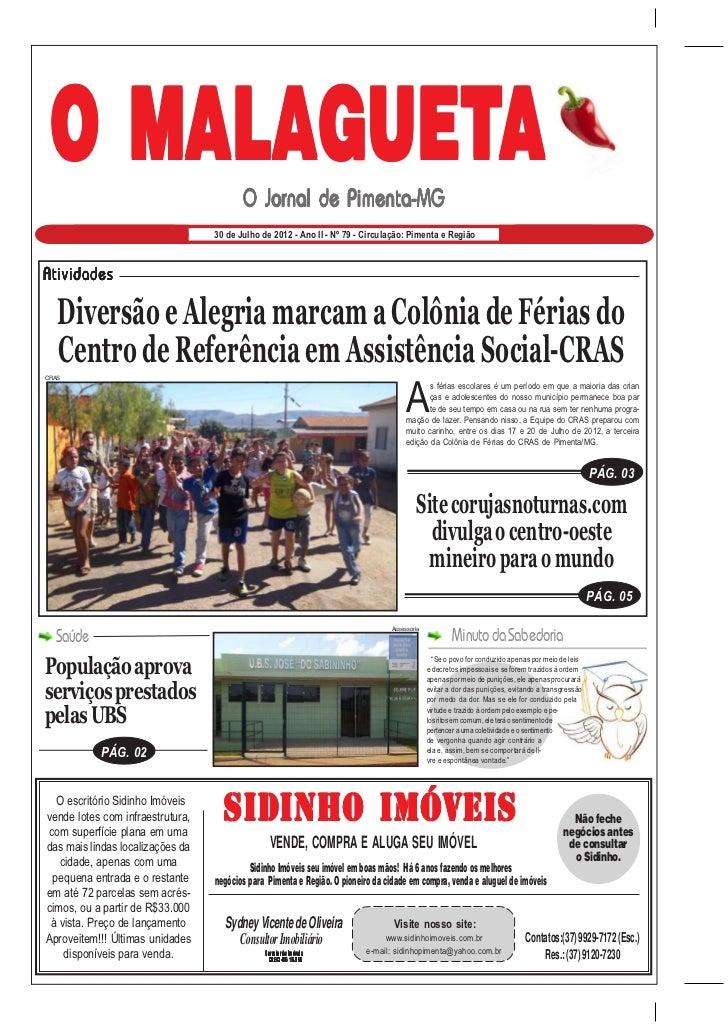O MALAGUETA                                         O Jornal de Pimenta-MG                                  30 de Julho de...