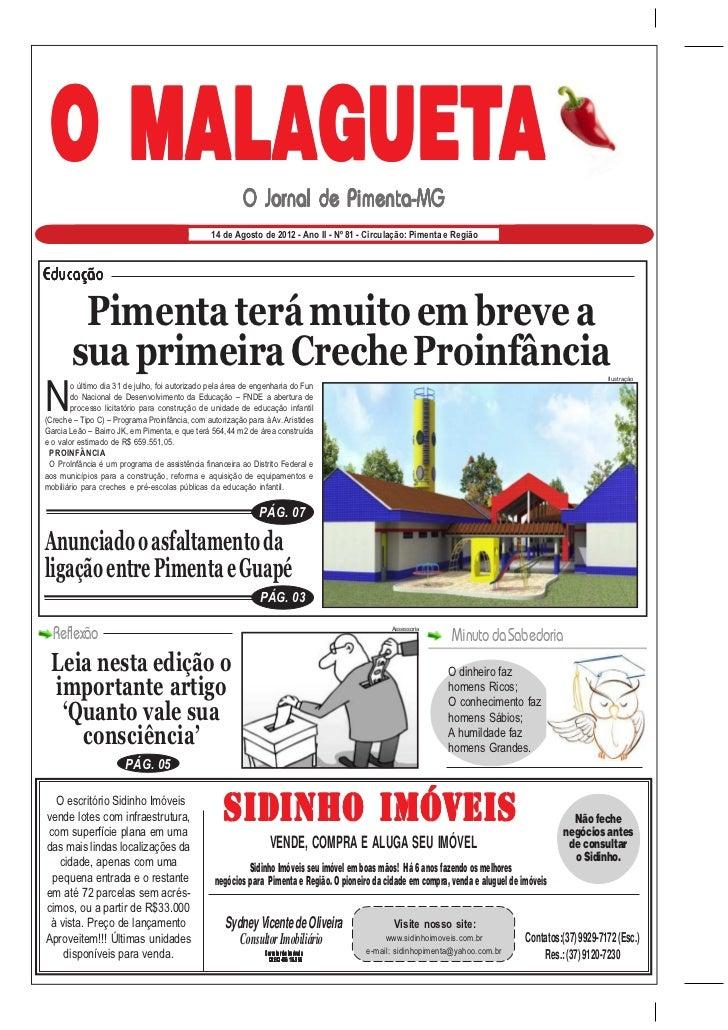 O MALAGUETA                                                          O Jornal de Pimenta-MG                               ...
