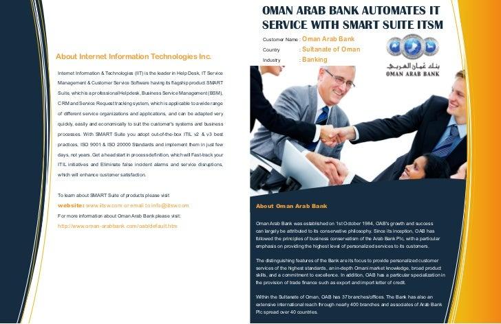 OMAN ARAB BANK AUTOMATES IT                                                                                        SERVICE...