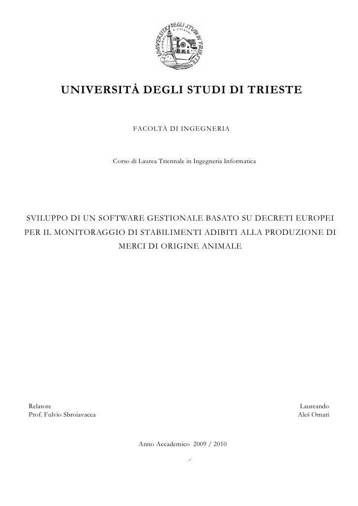 UNIVERSITÀ DEGLI STUDI DI TRIESTE                                     FACOLTÀ DI INGEGNERIA                               ...