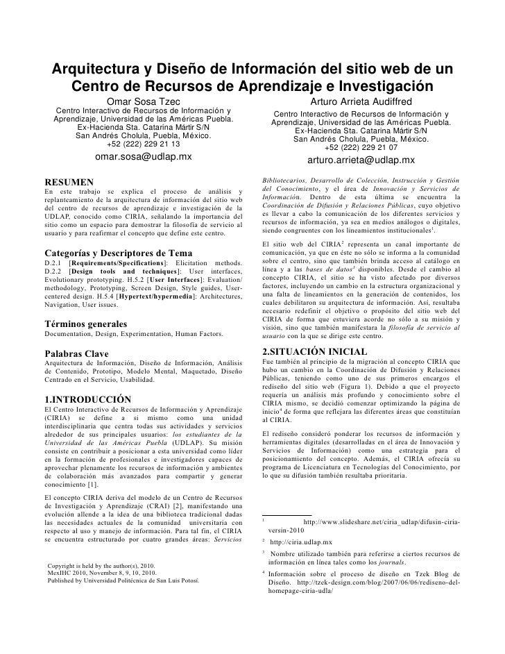 Diseño y Arquitectura de Información del sitio web del CIRIA