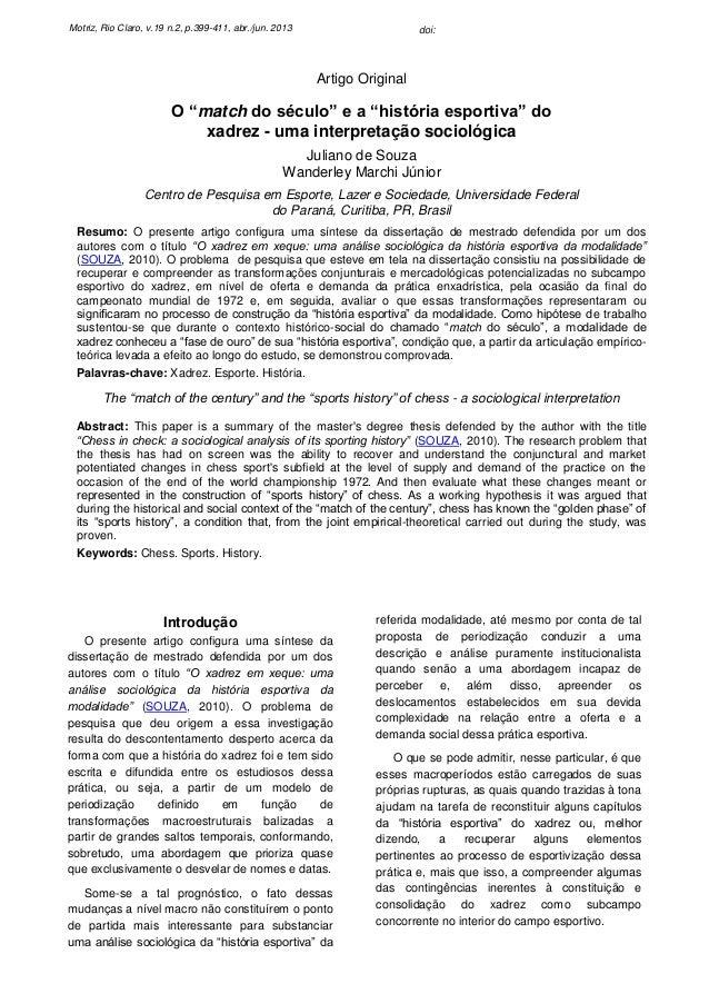 """Motriz, Rio Claro, v.19 n.2, p.399-411, abr./jun. 2013  doi:  Artigo Original  O """"match do século"""" e a """"história esportiva..."""