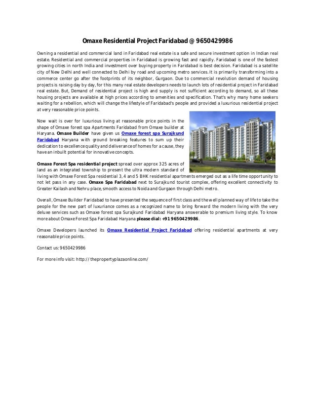 Omaxe Residential Project Faridabad @ 9650429986Owning a residential and commercial land in Faridabad real estate is a saf...