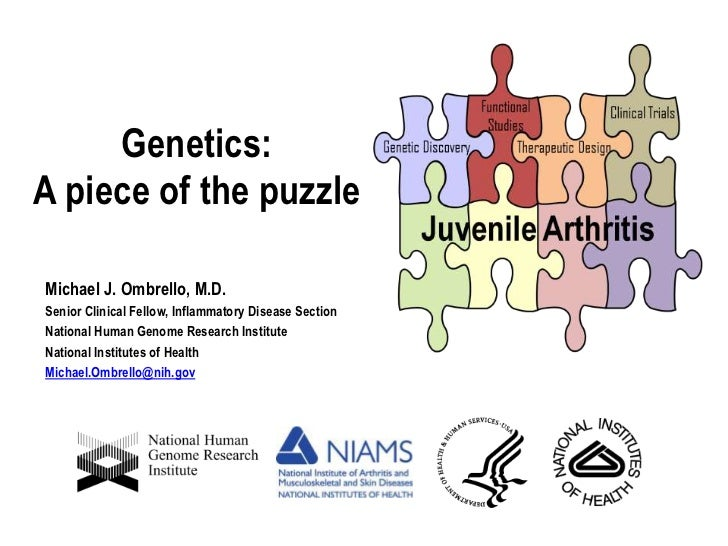 Genetics:  A piece of the puzzle<br />Michael J. Ombrello, M.D.<br />Senior Clinical Fellow, Inflammatory Disease Section<...
