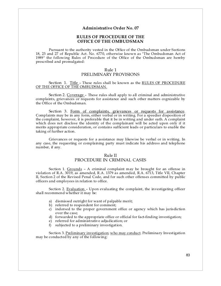 Administrative Order No. 07                        RULES OF PROCEDURE OF THE                        OFFICE OF THE OMBUDSMA...