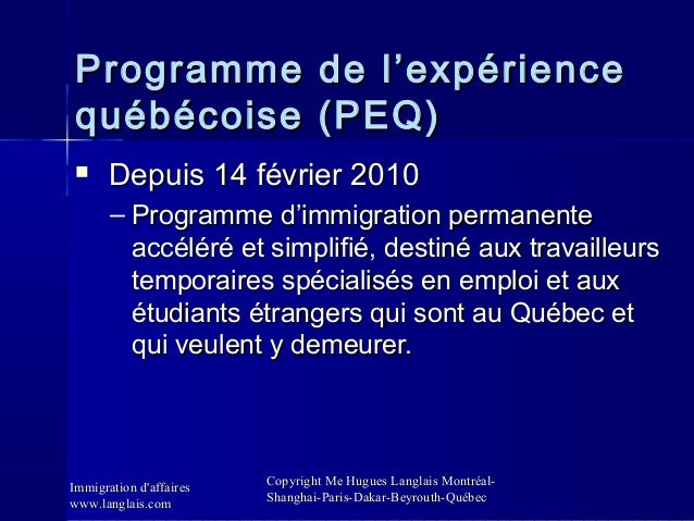 Omc et immigration d 39 affaires cabinet me hugues langlais - Bureau d immigration du quebec a paris ...
