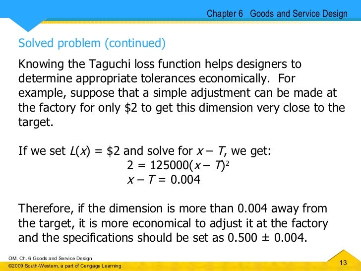 taguchi loss function essay Taguchi's quality loss function concept combines cost, target and variation in one metric with specifications being of secondary importance taguchi has defined quality as the loss imparted to society from the time a product is shipped.
