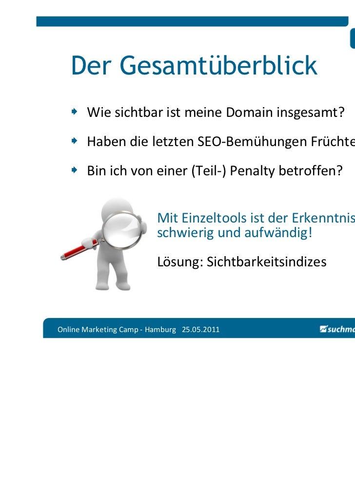 Der Gesamtüberblick       Wie sichtbar ist meine Domain insgesamt?       Haben die letzten SEO-Bemühungen Früchte getragen...