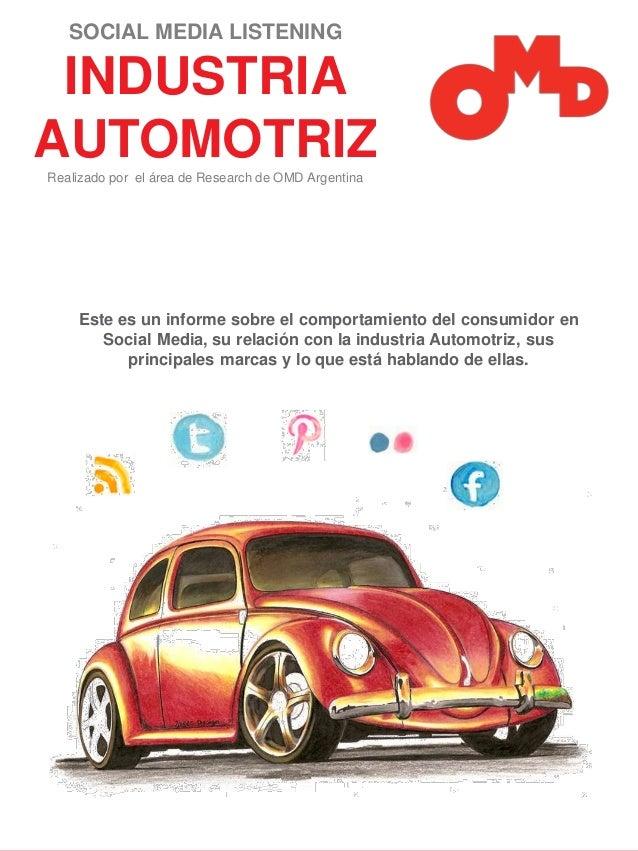 SOCIAL MEDIA LISTENING  INDUSTRIA AUTOMOTRIZ Realizado por el área de Research de OMD Argentina  Este es un informe sobre ...