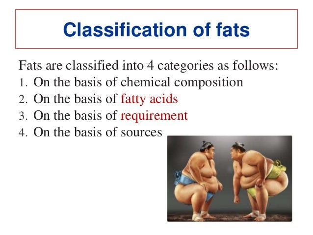 Classification of fats Fats are classified into 4 categories as follows: 1. On the basis of chemical composition 2. On the...