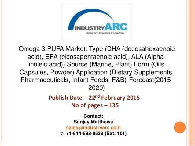 Omega 3 PUFA Market: Type (DHA (docosahexaenoic acid), EPA (eicosapentaenoic acid), ALA (Alpha- linoleic acid)) Source (Ma...