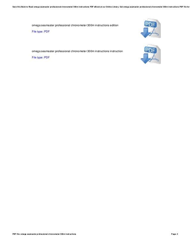 Omega Seamaster Professional Chronometer 300m Instructions