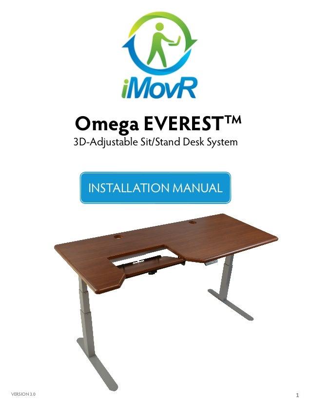 1 Omega EVERESTTM 3D-Adjustable Sit/Stand Desk System INSTALLATION MANUAL VERSION 3.0