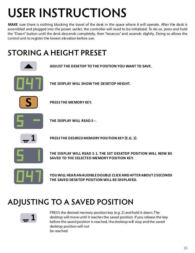 stilford electric height adjustable desk instructions