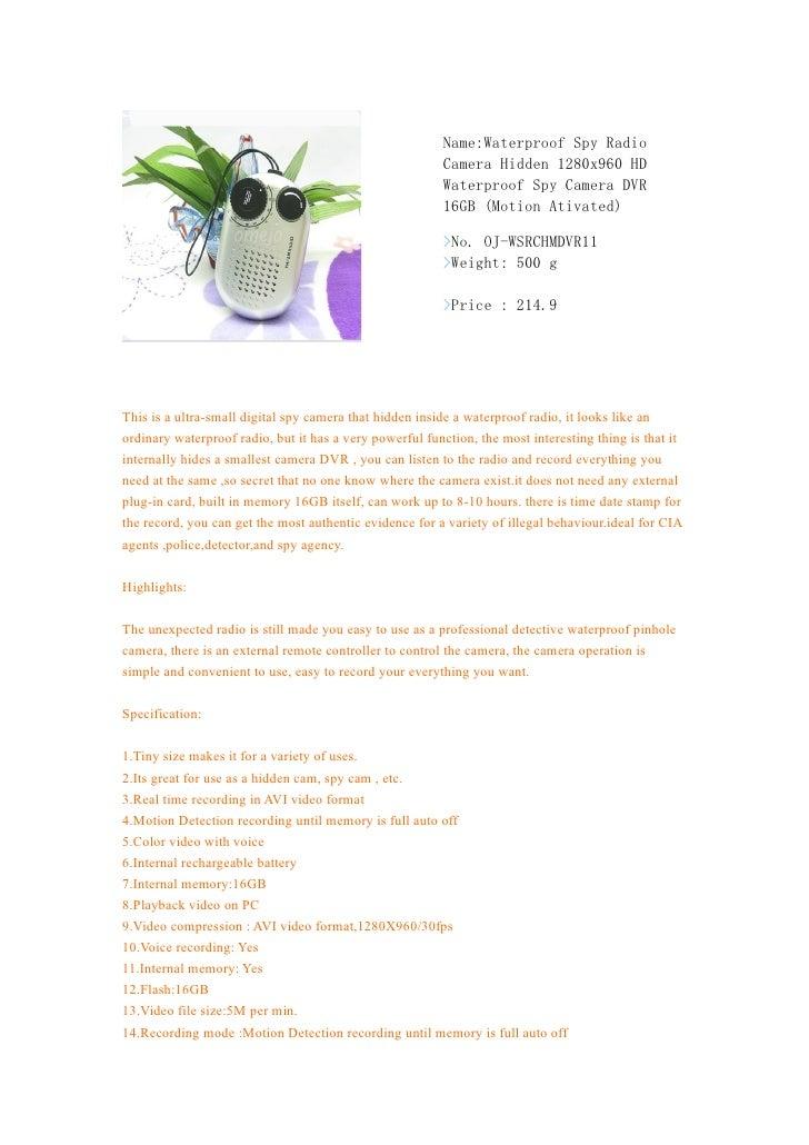 Name:Waterproof Spy Radio                                                         Camera Hidden 1280x960 HD               ...