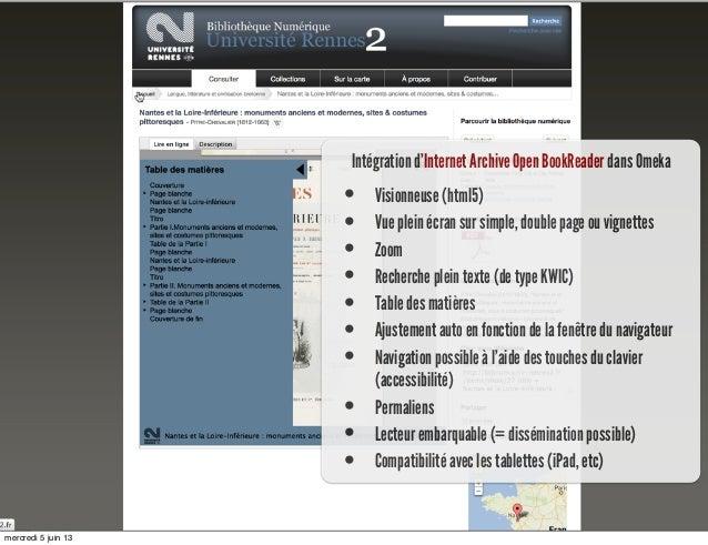 Intégration d'Internet Archive Open BookReader dans Omeka• Visionneuse (html5)• Vue plein écran sur simple, double page ou...
