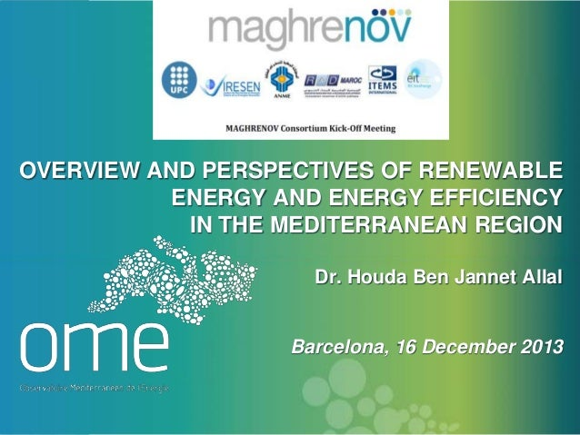 OVERVIEW AND PERSPECTIVES OF RENEWABLE ENERGY AND ENERGY EFFICIENCY IN THE MEDITERRANEAN REGION Dr. Houda Ben Jannet Allal...