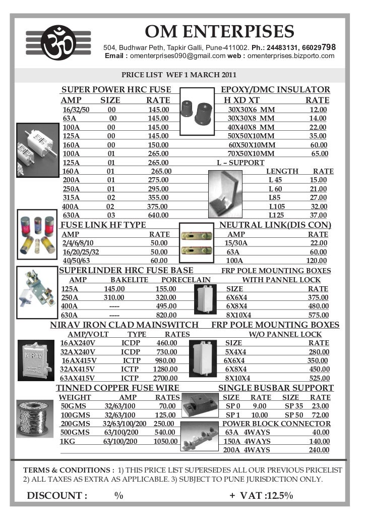 Om Ent Price List
