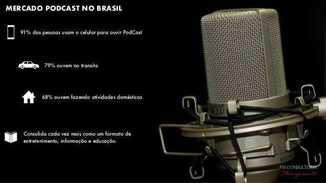 MERCADO PODCAST NO BRASIL 91% das pessoas usam o celular para ouvir PodCast Consolida cada vez mais como um formato de ent...
