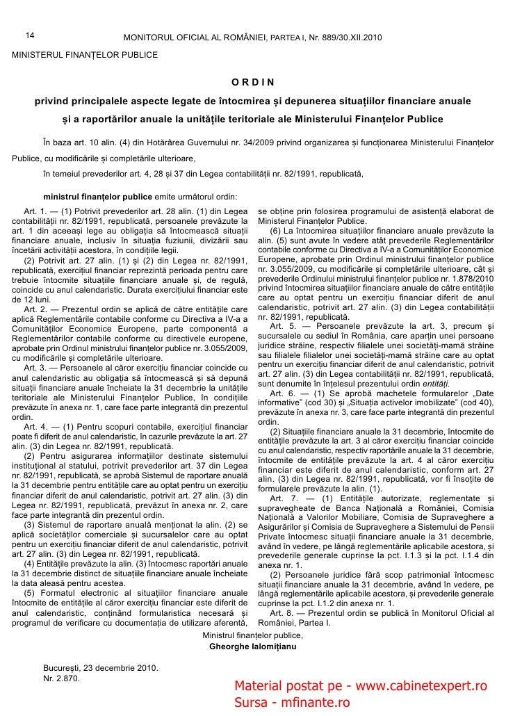14                            MONITORUL OFICIAL AL ROMÂNIEI, PARTEA I, Nr. 889/30.XII.2010MINISTERUL FINANȚELOR PUBLICE   ...