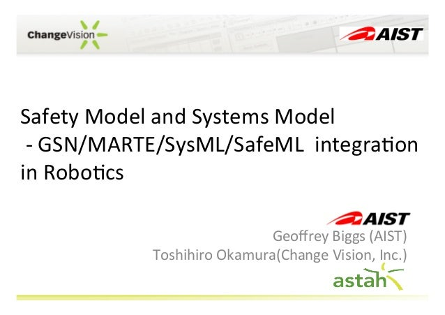 Safety	   Model	   and	   Systems	   Model	    	   -­‐	   GSN/MARTE/SysML/SafeML	   	   integra;on	    in	   Robo;cs	    G...