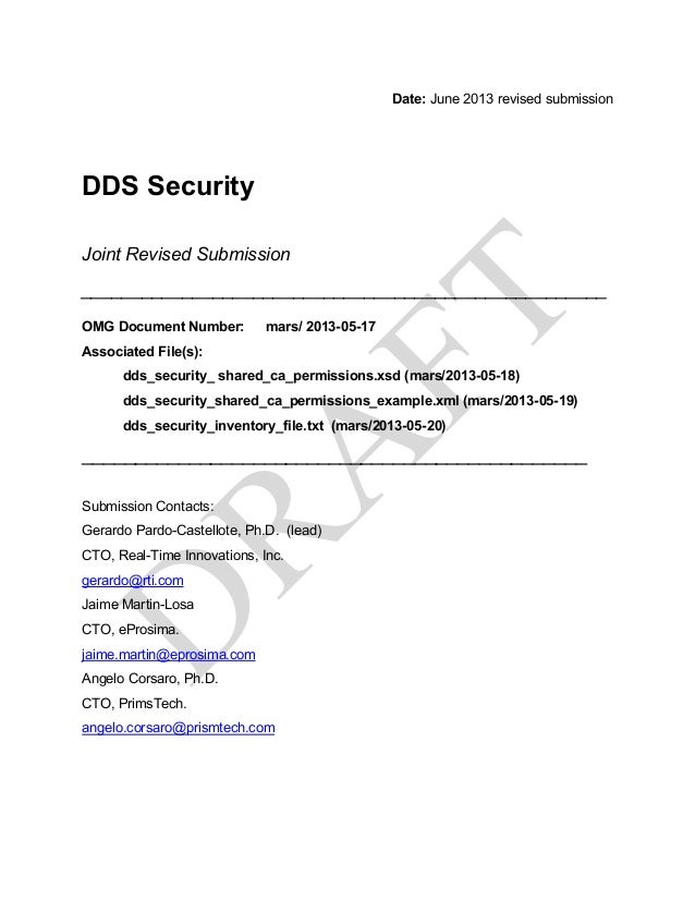 Date: June 2013 revised submission DDS Security Joint Revised Submission _________________________________________________...
