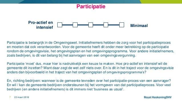 22 maart 20187 Minimaal Pro-actief en intensief Participatie Participatie is belangrijk in de Omgevingswet. Initiatiefneme...