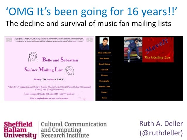 'OMG It's been going for 16 years!!'The decline and survival of music fan mailing lists                                   ...