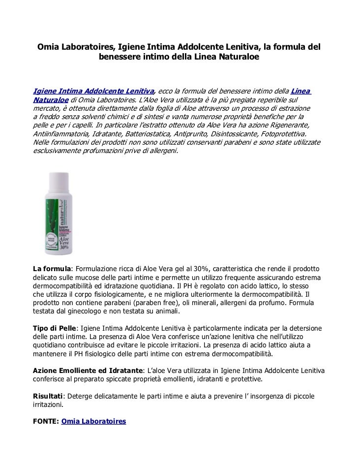Omia Laboratoires, Igiene Intima Addolcente Lenitiva, la formula del              benessere intimo della Linea NaturaloeIg...