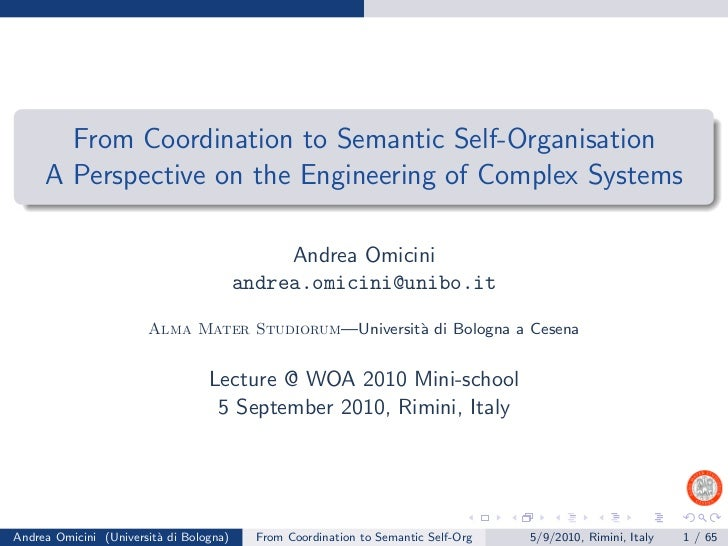 From Coordination to Semantic Self-Organisation     A Perspective on the Engineering of Complex Systems                   ...