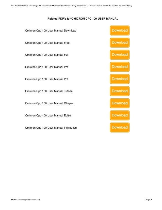 omicron cpc 100 user manual rh slideshare net Instruction Manual Manuals in PDF