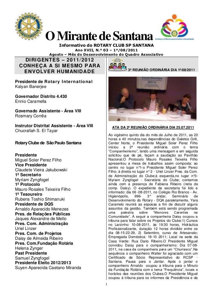 O Mirante de Santana                       Informativo do ROTARY CLUB SP SANTANA                              Ano XVII, N....