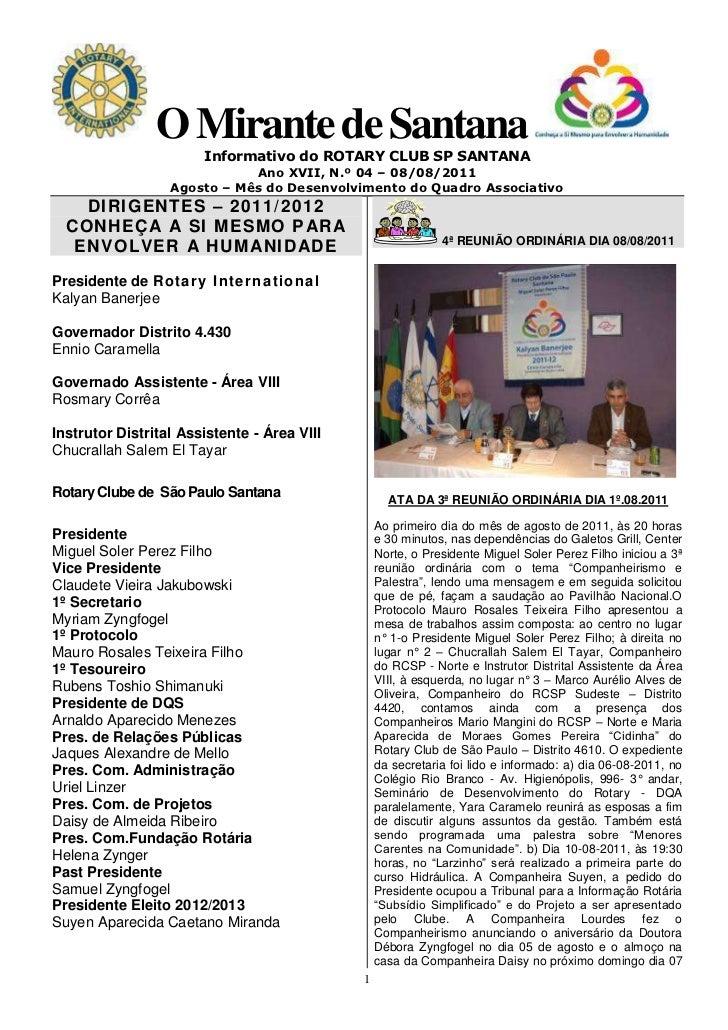 O Mirante de Santana                       Informativo do ROTARY CLUB SP SANTANA                             Ano XVII, N.º...