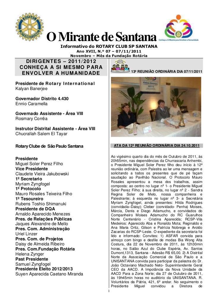 O Mirante de Santana                       Informativo do ROTARY CLUB SP SANTANA                               Ano XVII, N...