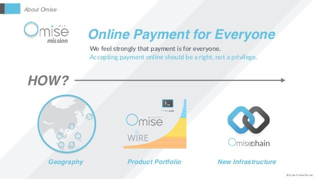 About Omise 2016_Jan © Omise Pte. Ltd., mission Online Payment for Everyone We feel strongly that payment is for everyone....