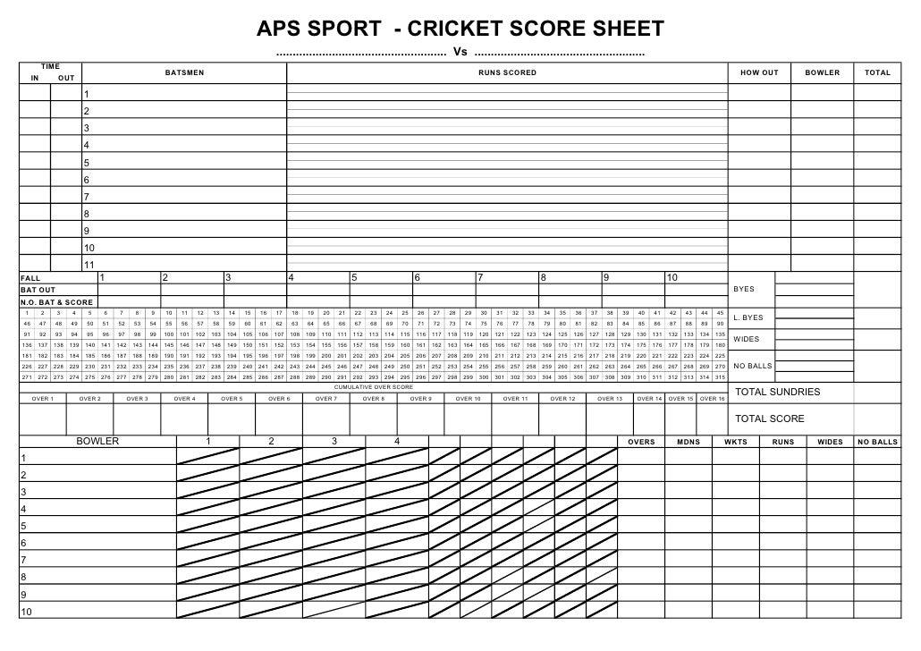 omk – Cricket Score Sheet
