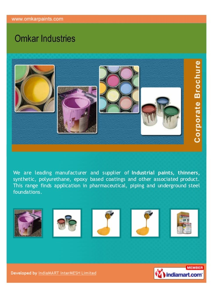 We are leading manufacturer and supplier of Industrial paints, thinners,synthetic, polyurethane, epoxy based coatings and ...