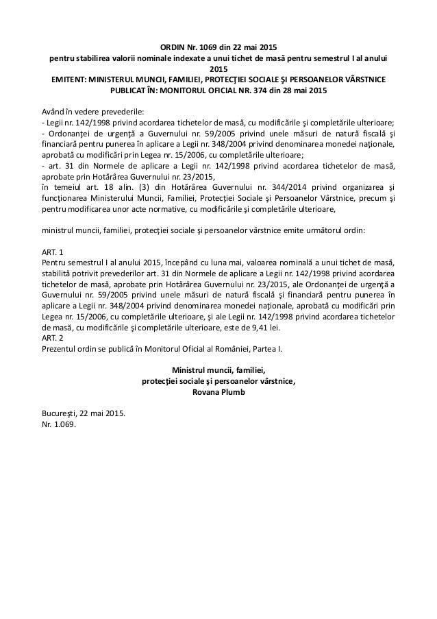 ORDIN Nr. 1069 din 22 mai 2015 pentru stabilirea valorii nominale indexate a unui tichet de masă pentru semestrul I al anu...