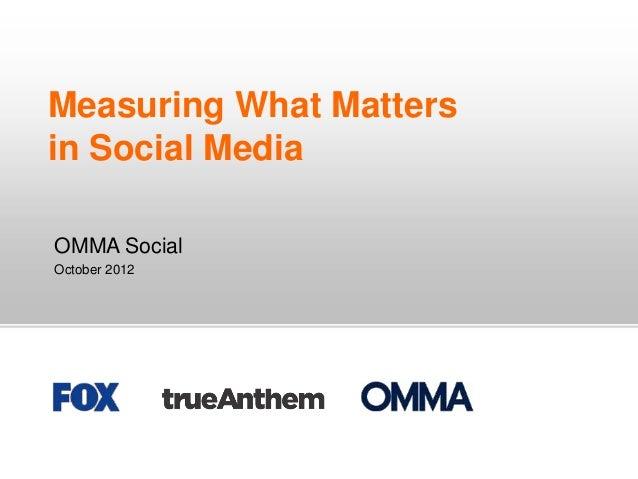 Measuring What Mattersin Social MediaOMMA SocialOctober 2012