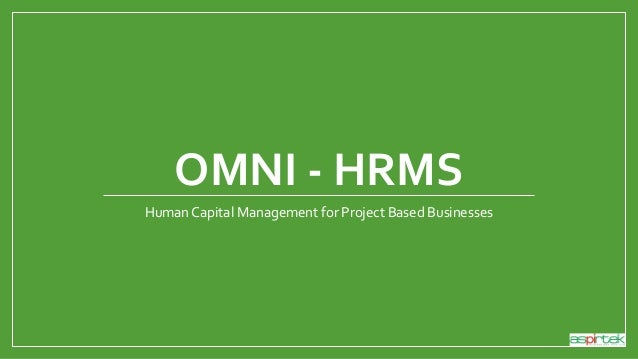 OMNI - HRMS Human Capital Management for Project Based Businesses