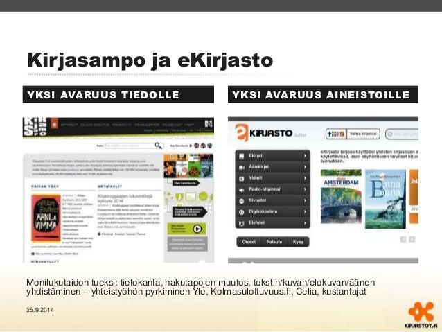 Kirjasampo ja eKirjasto  YKSI AVARUUS TIEDOLLE YKSI AVARUUS AINEISTOILLE  Monilukutaidon tueksi: tietokanta, hakutapojen m...