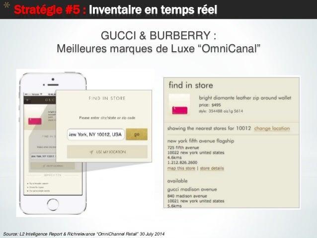 """* Stratégie #5 : Inventaire en temps réel GUCCI & BURBERRY : Meilleures marques de Luxe """"OmniCanal"""" Source: L2 Intelligenc..."""