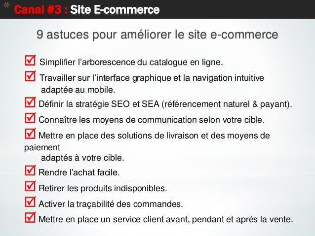 48 * Canal #3 : Site E-commerce  Simplifier l'arborescence du catalogue en ligne.  Travailler sur l'interface graphique ...