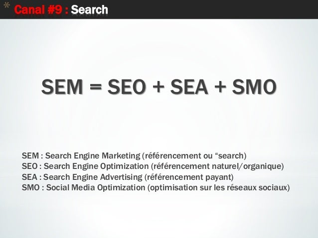 """63 * Canal #9 : Search SEM = SEO + SEA + SMO SEM : Search Engine Marketing (référencement ou """"search) SEO : Search Engine ..."""