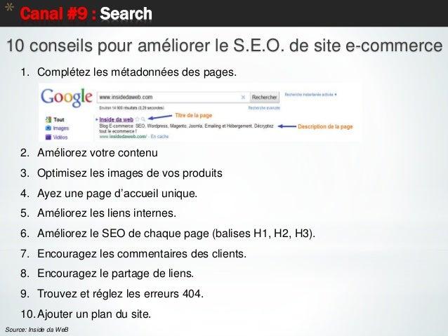 65 * Canal #9 : Search Source: Inside da WeB 10 conseils pour améliorer le S.E.O. de site e-commerce 1. Complétez les méta...