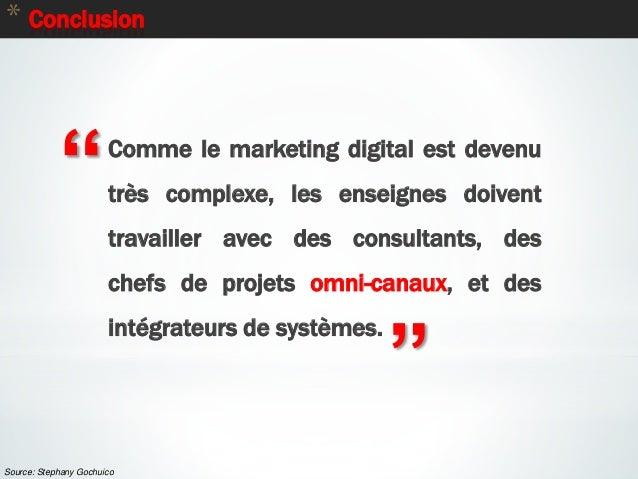 """88 * Conclusion """" """" Comme le marketing digital est devenu très complexe, les enseignes doivent travailler avec des consult..."""