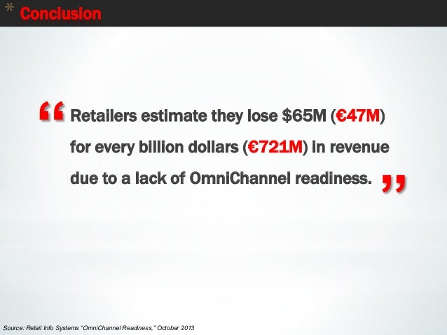 """89 * Conclusion """" """" Retailers estimate they lose $65M (€47M) for every billion dollars (€721M) in revenue due to a lack of..."""