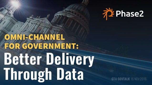 OMNICHANNEL - GTA GOVTALK Better Delivery Through Data GTA GOVTALK 16 NOV 2016 OMNI-CHANNEL  FOR GOVERNMENT: