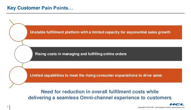 2 Copyright © 2014 HCL Technologies Limited   www.hcltech.com Key Customer Pain Points… Need for reduction in overall fulf...