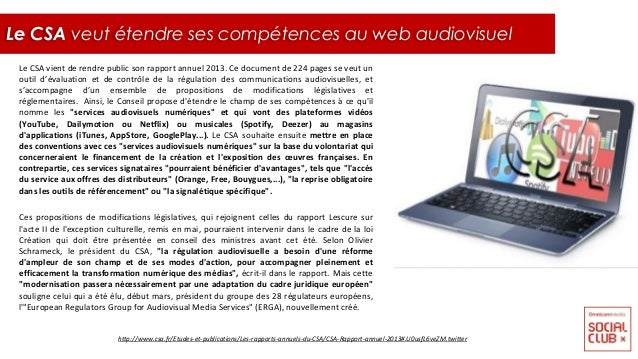 Le CSA vient de rendre public son rapport annuel 2013. Ce document de 224 pages se veut un outil d'évaluation et de contrô...